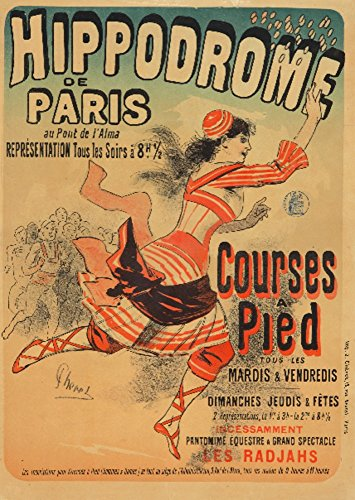 (Hippodrome - Courses a Pied Vintage Poster (artist: Cheret) France c. 1881 (12x18 Art Print, Wall Decor Travel Poster))