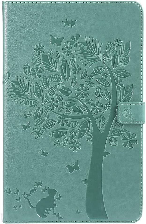 LingDan Protective Cover for Samsung Galaxy Tab A T590//T595 10.5 Inch Green Tablet PU Leather Cover Embossing Tree and cat Pattern with Built Stand and Magnetic Closure Wallet Flip Folio Case