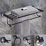 ZTCWS Towel Stands, Punch-Free Black Towel
