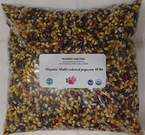 Multi-colored Popcorn Popping Corn, 15 Pounds (Rainbow or Calico) Kernels, USDA Whole Grain, Certified Organic, Non-GMO Bulk