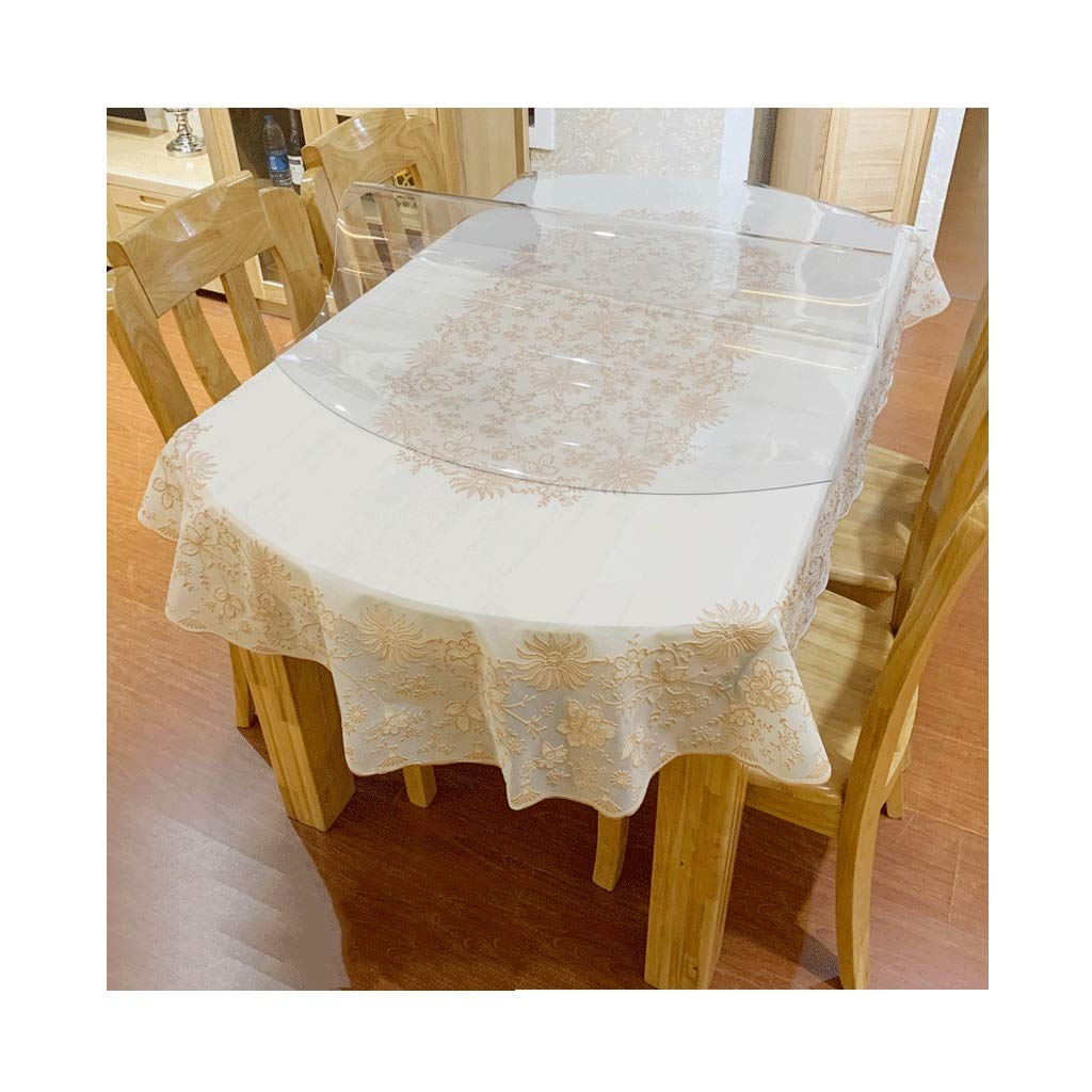 A Suitable for 86138cm oval table LIGONG Restaurant Desktop Cover Waterproof PVC Soft Glass Table Mat Table Set Suitable for Dining Table Coffee Table Coffee 4 Size (color   A, Size   Suitable for 86  138cm Oval Table)