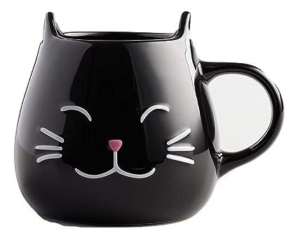 Amazon Com Black Cat Coffee Mug With Ears And Paw Print Inside 17