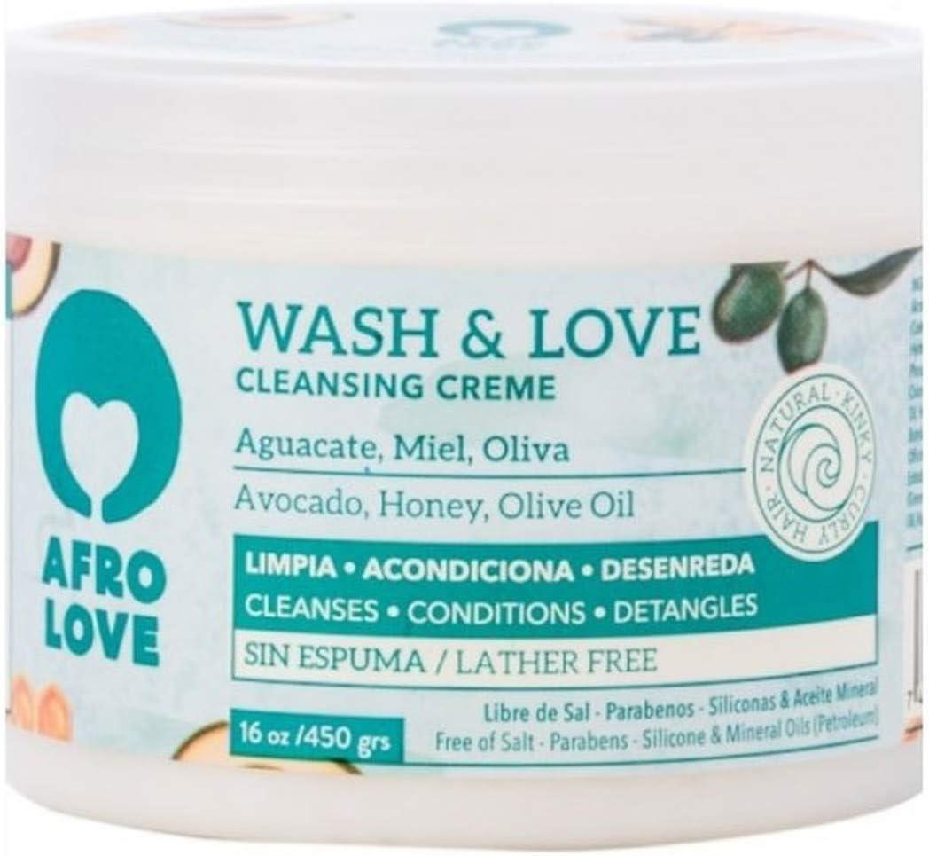 Afro Love Wash & Love Acondicionador Limpiador – Cowash para pelo rizado sin siliconas sin SLS sin parabenos ni aceites minerales 450g, con aguacate, miel y aceite de oliva, sin espuma (450g)