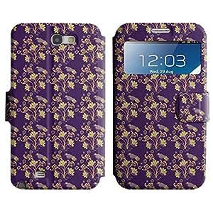 Be-Star Diseño Impreso Colorido Slim Casa Carcasa Funda Case PU Cuero - Stand Function para Samsung Galaxy Note 2 II / N7100 ( Flower With Leaves )