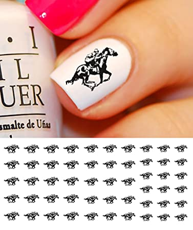 Amazon Race Horse Water Slide Nail Art Decals Salon Quality