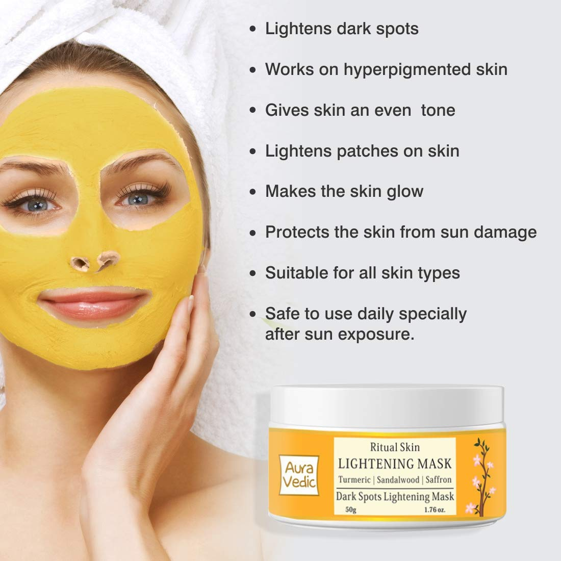 Amazon Com Sandal Turmeric And Saffron Skin Lightening Mask 1 76