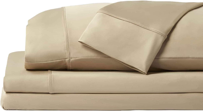 SHEEX - Original Performance Sheet Set with 2 Pillowcases, Ulta-Soft Fabric Transfers Heat and Breathes Better Than Traditional Cotton - Khaki, King/California King: Home & Kitchen