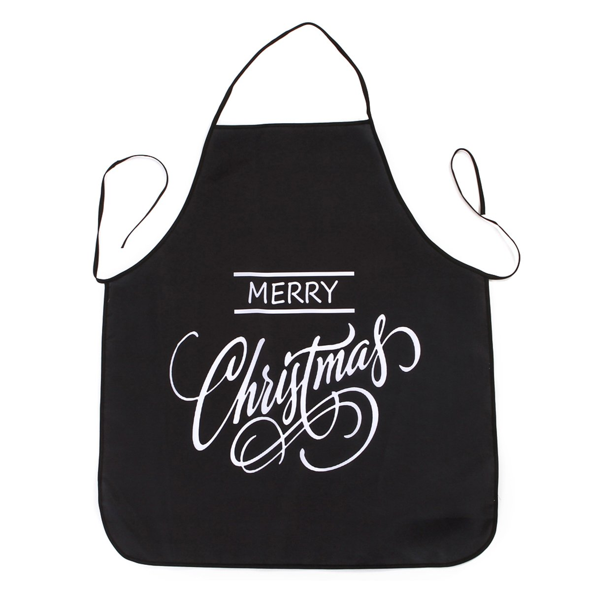 OULII Christmas Apron Adult Apron Family Dinner Cooking Baking Chef Christmas Gift Apron (Black)