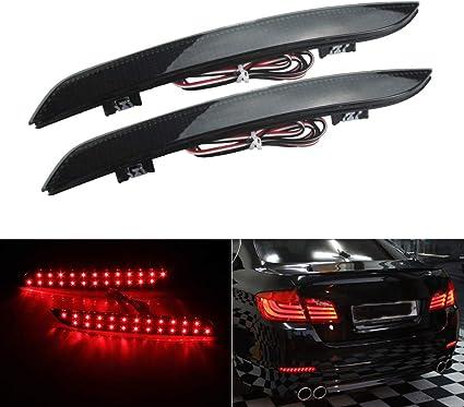 2x Black Smoked Lens Rear Bumper Reflector LED Tail Brake Light BMW 5-Series F10