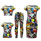 Kids Girls Comic Graffiti Print Legging Skater Midi Dress Crop Top Skirt 2-13 Yr