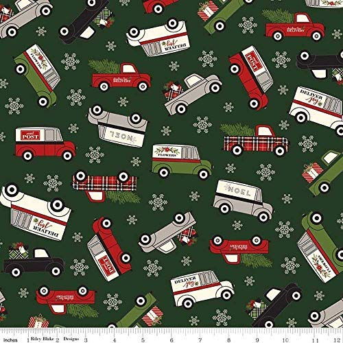 Flannel Christmas Delivery Truck Green Fabric by Riley Blake F7773