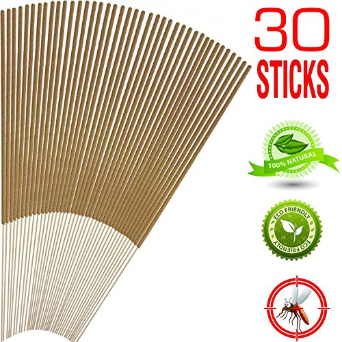 Mosquito Sticks, All Natural and DEET Free Insect Repellent, Eco friendly, Non toxic, Bamboo infused with...