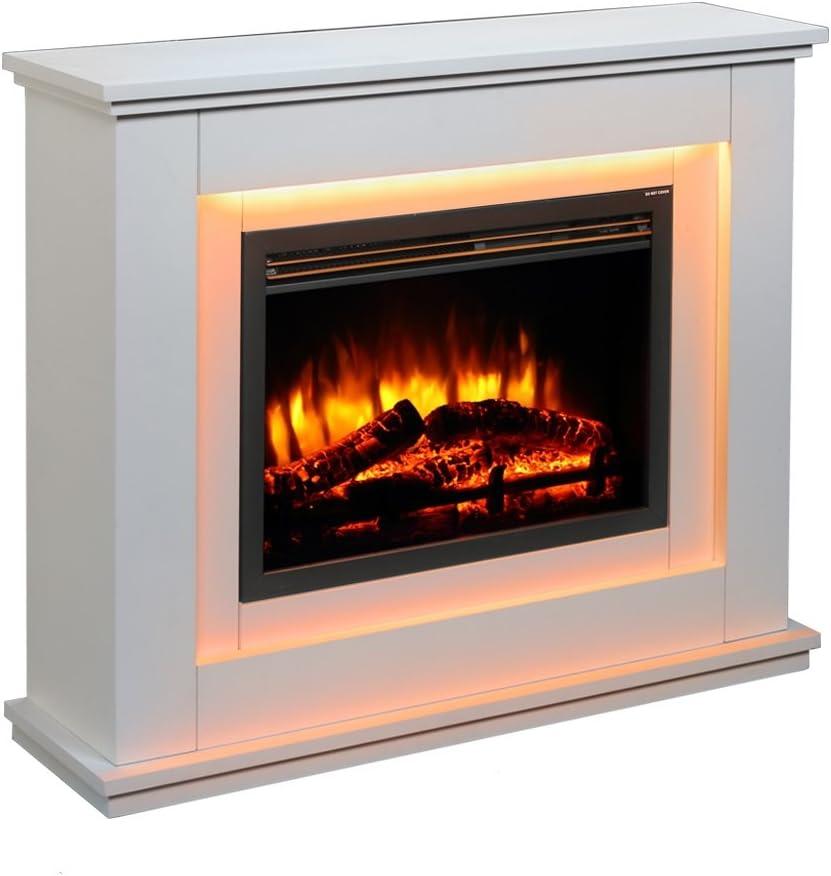 Chimenea eléctrica Castleton Suite de vidrio frente a fuego eléctrico 220/240 Vac, 1 & 2KW, 7 días de control remoto programable en una suite de la chimenea de MDF de crema ligera.