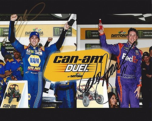 (2X AUTOGRAPHED Chase Elliott & Denny Hamlin 2017 CAN-AM DUEL AT DAYTONA (Race Winners) Dual Signed Picture NASCAR 8X10 Inch Glossy Photo with COA)