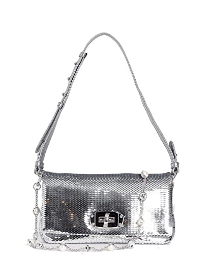 aaeb93b79d9 Miu Miu Women s 5Bh1152eybf0118 Silver Leather Shoulder Bag  Amazon.co.uk   Clothing