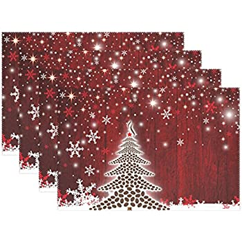 naanle winter holiday placemat set of 6 christmas tree with snowflake heat resistant washable - 6 Christmas Tree
