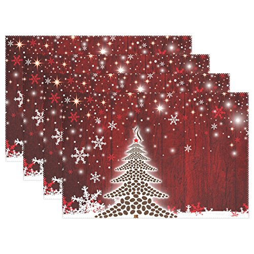 Naanle Winter Holiday Placemats Set of 4, Christmas Tree with Snowflake Heat-Resistant Washable Table Place Mats for Kitchen Dining Table ()