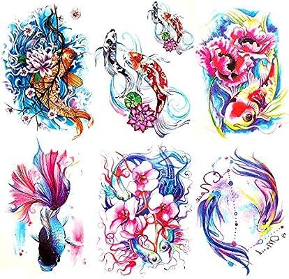 Oottati 6 Pieces Large Arm Watercolor Fish Pisces Lotus Koi Carp Blue Pink Flower Goldfish Temporary Tattoo Amazon Sg Beauty