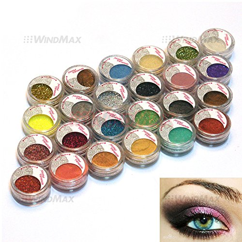 (USA Seller 24 Warm Smoked Metals Color Glitter Shimmer Pearl Loose Eyeshadow Eyeliner Pigments Mineral Eye Shadow Dust Powder Makeup Party Cosmetic Set #D )