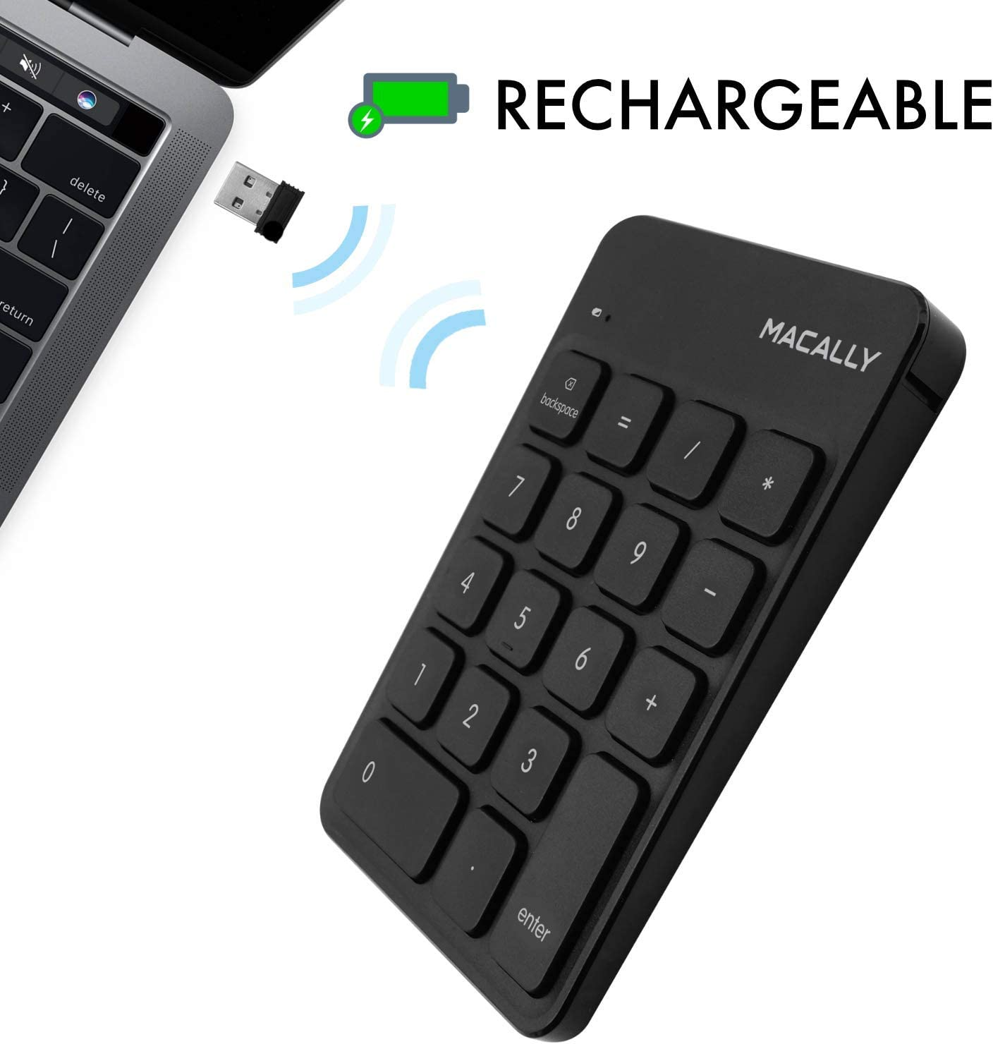 Macally 2.4G Wireless Numeric Keypad Keyboard for Laptop, Apple Mac iMac MacBook Pro/Air, Windows PC, or Desktop Computer with USB Receiver & Rechargeable 18 Key Slim Number Pad - Black
