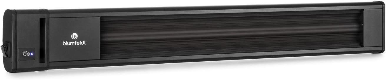 Blumfeldt Cosmic Beam - radiador infrarrojo, Calefactor de terraza, Calefactor de Infrarrojos, 1800 W, Resistente a la Intemperie, protección Clase IP24, Control Remoto, Aluminio, Negro