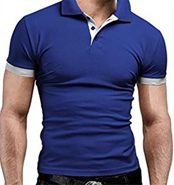 Unastar Mens Summer Short Sleeve Contrast Cotton Striped Vogue Polo Shirt