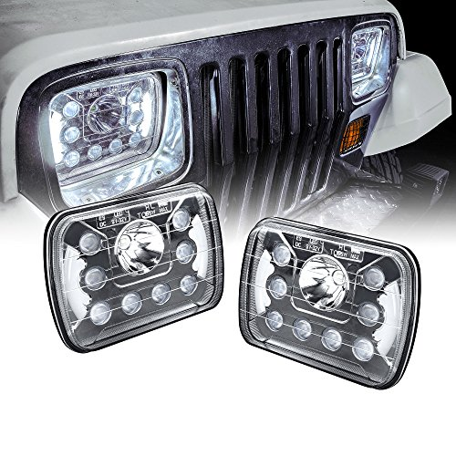 ONLINE LED STORE Universal 5x7 7x6 inch 45W LED Headlight with DRL Pair [Plug & Play] [Energy Efficient] [Bold Styling] [Low/High Beam] - Sealed Beam Square/Rectangular Headlight Set