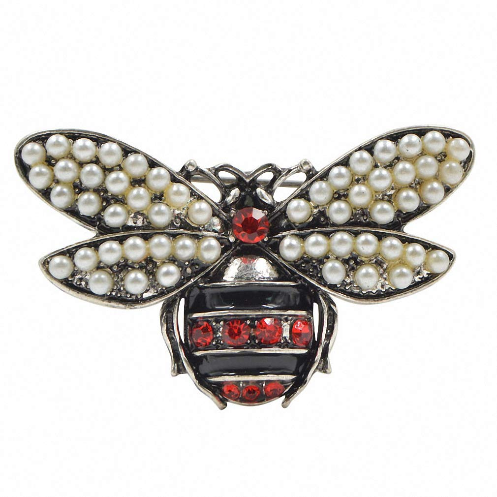 Jana Winkle 2 Colors Choose Rhinestone and Pearl Bee Brooches Women Vintage Jewelry Insect Brooch Pin Silver