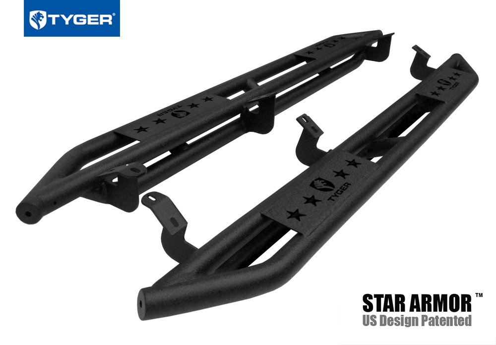 Tyger Auto TG-AM2T20018 Star Armor Kit for 2007-2018 Toyota Tundra Double Cab | Textured Black | Side Step | Nerf Bars | Running Boards