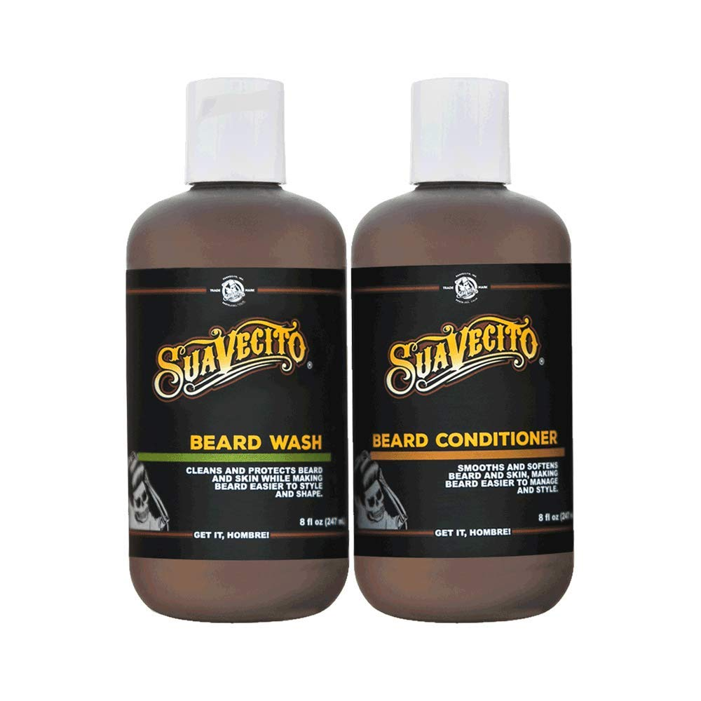 Suavecito Beard Wash Set. Cleansing and Conditioning Beard Kit For Men (8 oz. each)