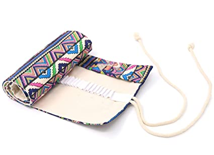 Canvas Pencil Wrap, coideal lápices de colores rollo de bolsa caso Holder Set para niños