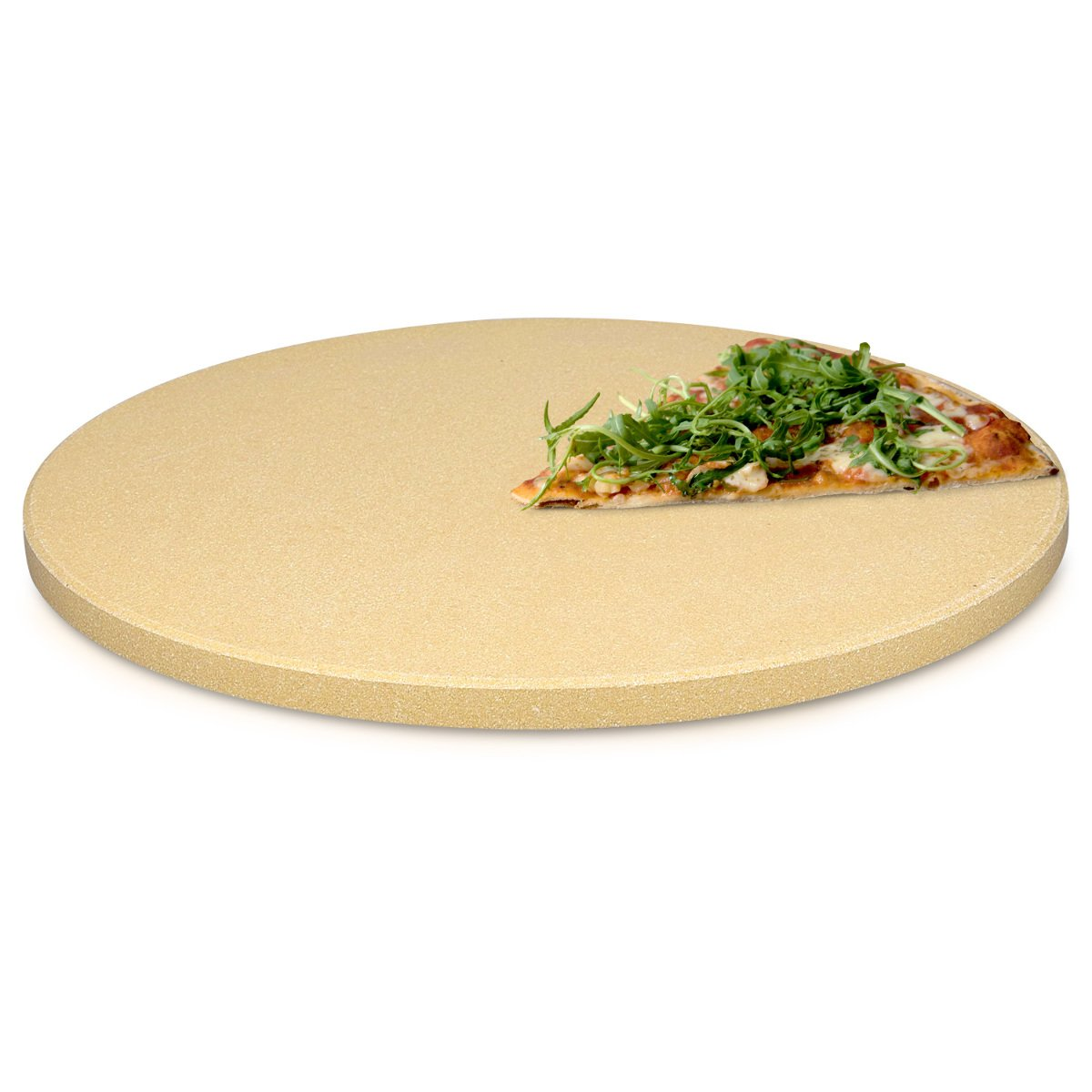 Navaris XL Pizza Stone for Baking - Cordierite Pizza Stone Plate for BBQ Grill Oven - Cook and Serve Pizza Bread Cheese - Round, 30.5x1.5cm