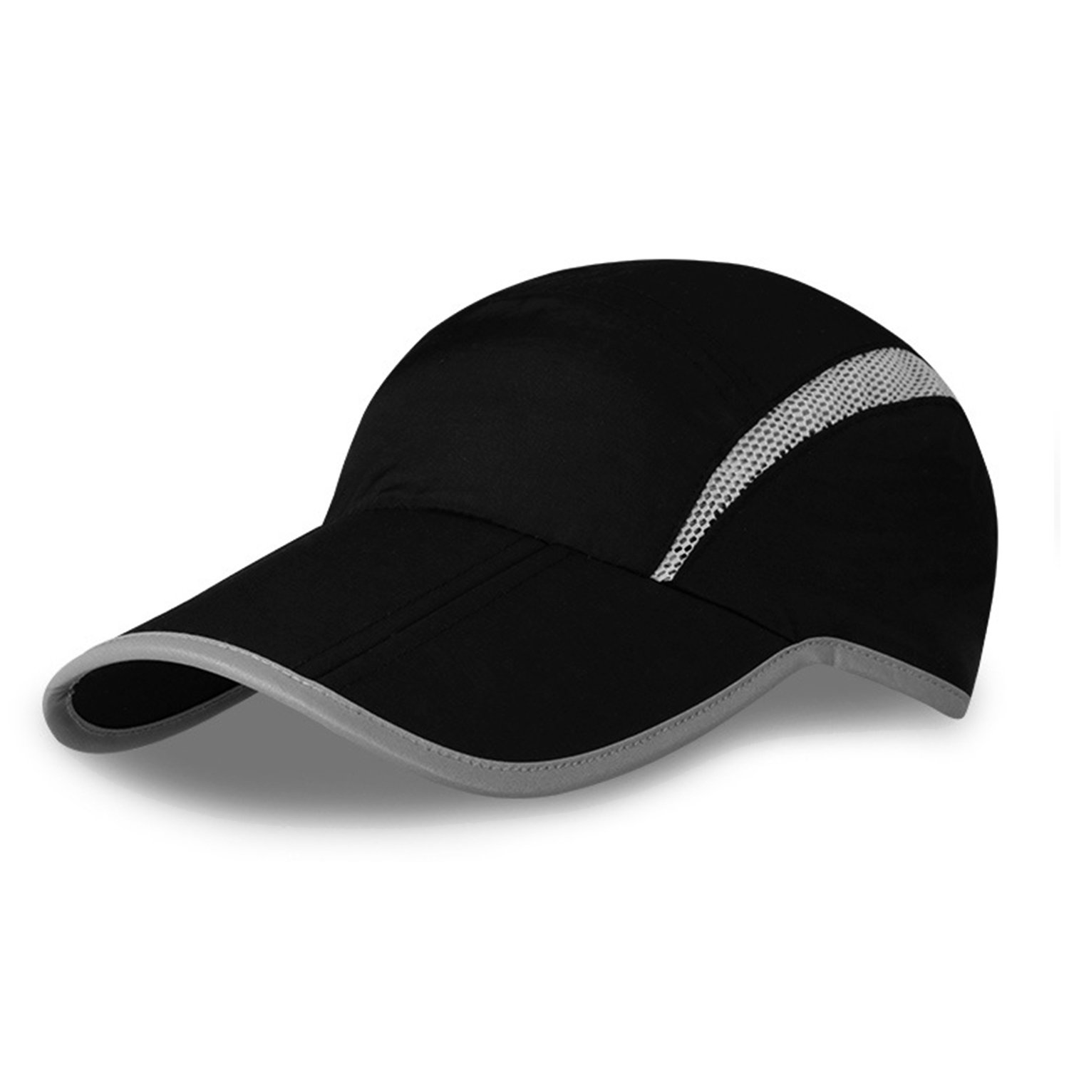MerryJuly Baseball Cap Quick Dry Sun Hats UPF50+ Portable Travel Hats for Sports Golf Running Fishing Outdoor Research with Foldable Long Large Bill (Black)
