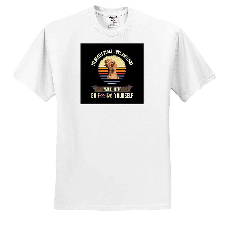 Adult T-Shirt XL ts/_311463 IAM Mostly Peace Love and Light with Vizsla Dog 3dRose Sven Herkenrath Dog