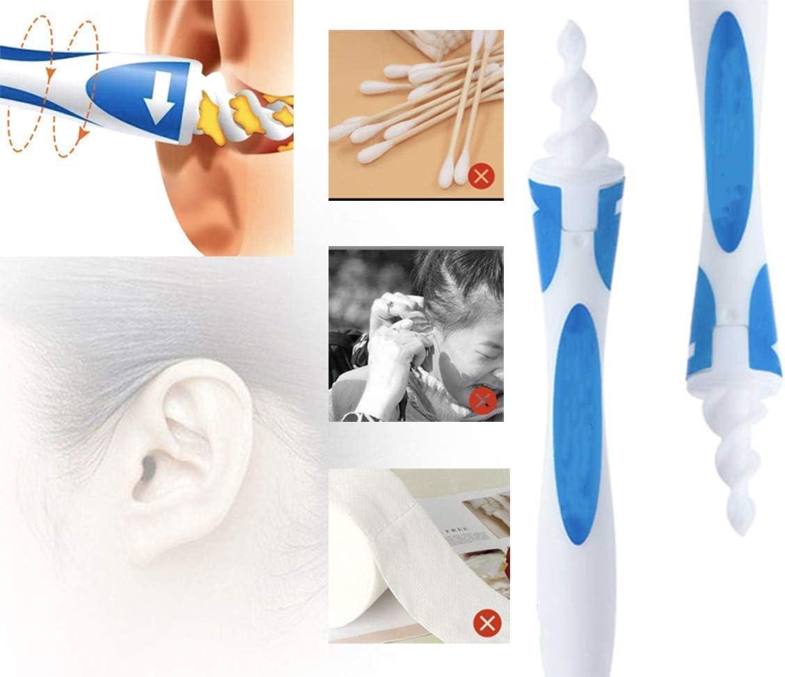 Spiral Silikon Ohr Ohrenschmalz Entferner Ohrwachs Entfernungs Ohr Schmalz Reiniger mit 16 St/ück Ersatzk/öpfen Soft Safe Silikon f/ür Kinder Jugendliche und Erwachsene Ohrreiniger