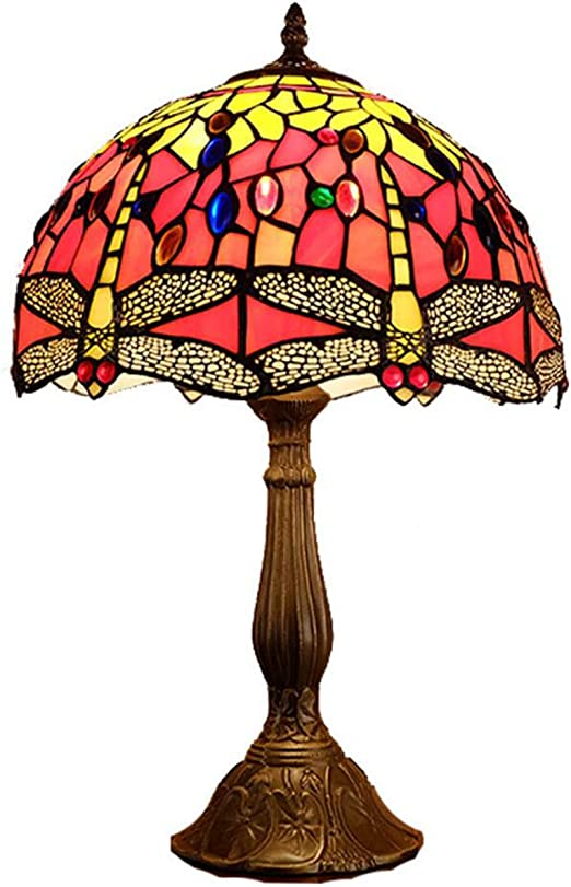GDLight Lámpara de Mesa de libélula Vintage, lámpara de Noche de ...