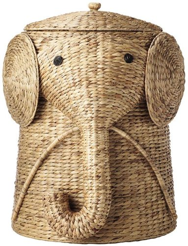 Handwoven Elephant Laundry Hamper in Natural