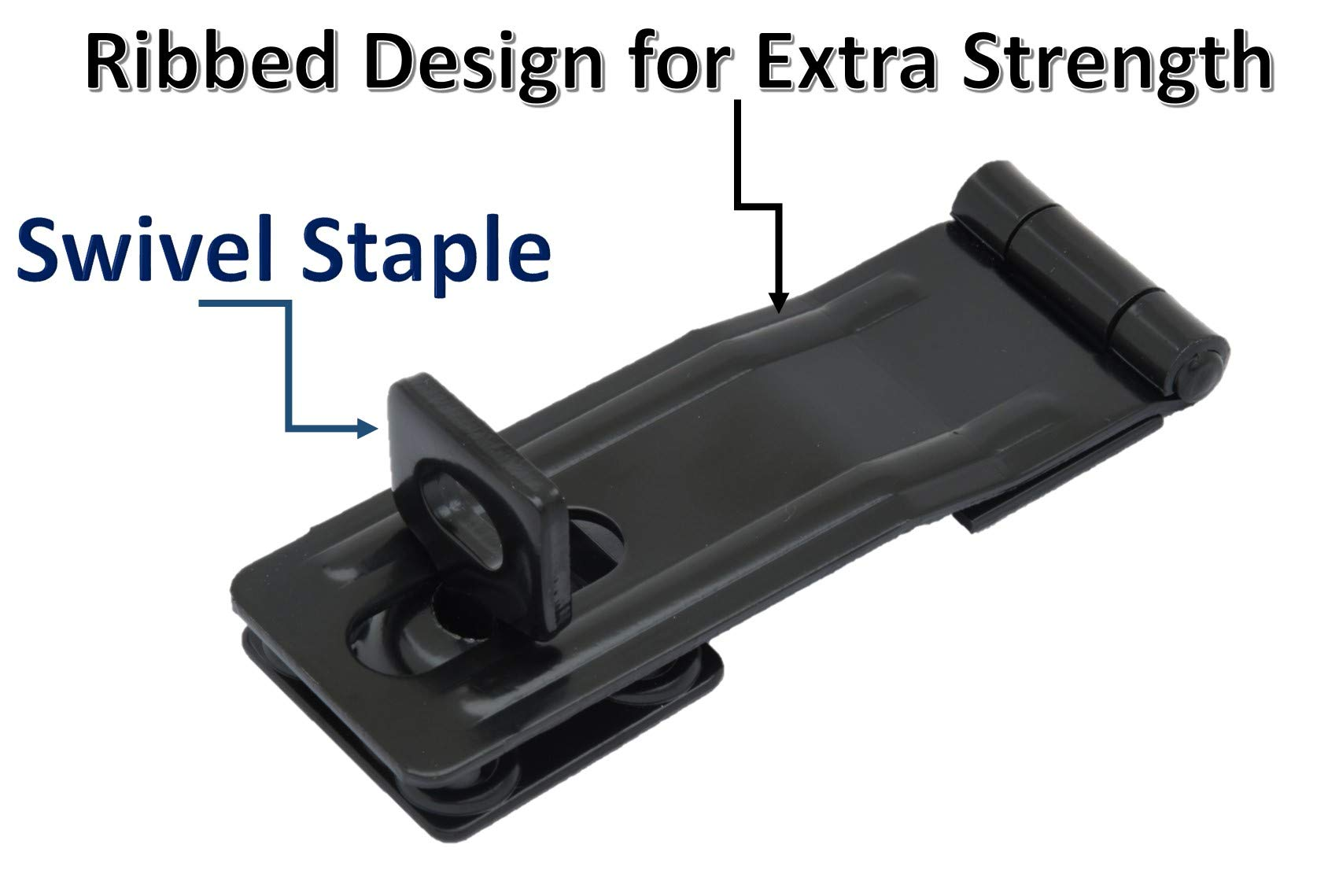 QCAA HASP and Swivel Staple, 4-1/2'', Steel, Black, 2 Pack, Made in Taiwan by QCAA