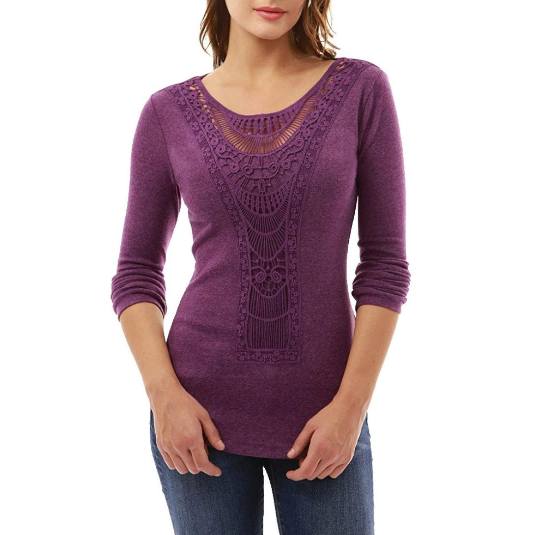 Teresamoon Clearance Sale Women Lace Loose Blouse Casual T-Shirt 5156