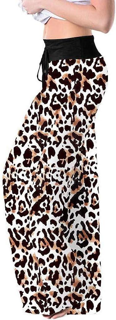 Dainzuy Womens Comfy Stretch Leopard Printed High Waist Drawstring Wide Leg Palazzo Lounge Pants