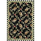 "Safavieh Chelsea Collection HK164A Hand-Hooked Black and Ivory Premium Wool Area Rug (2'6"" x 4')"