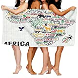 Wxf Quote Colorful Lettering Of African Countries In Africa Continent With Animals Soft Fast Drying Beach Towel Pool Towel 30x50