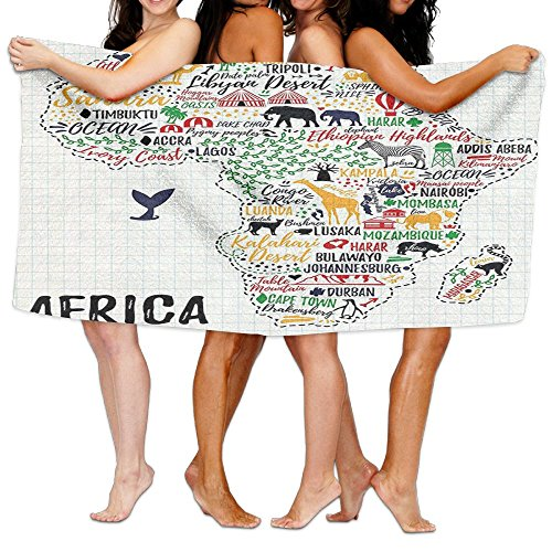 Wxf Quote Colorful Lettering Of African Countries In Africa Continent With Animals Soft Fast Drying Beach Towel Pool Towel 30x50 by Wxf