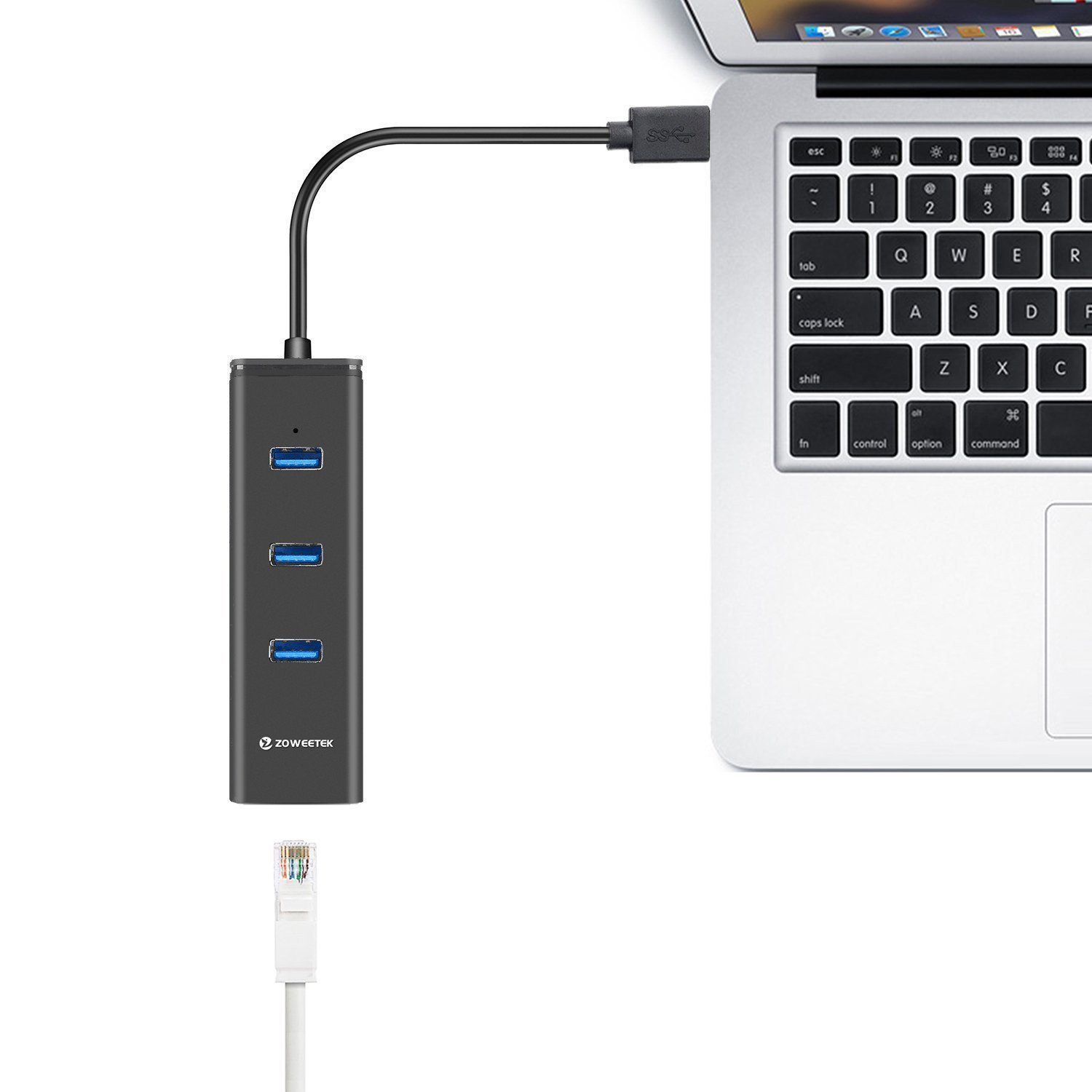 Zoweetek® USB 3.0 Hub 3 Ports + 1 Gigabit RJ45 Ethernet LAN Wired Network Adapter for Mac OS, Windows and Linux | No drivers | Aluminum