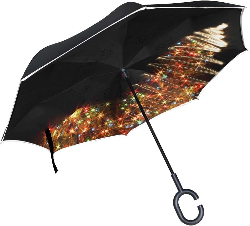 Oversize Double Canopy Vented Rain Umbrellas for Men and Women Baizhu Double Layer Inverted Umbrellas Reverse Folding Umbrella Windproof UV Protection