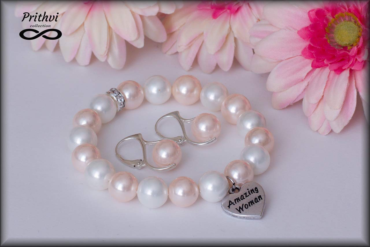 Elegante pulsera para mujer + Pendientes de Perlas de Rio - Perlas de río (10mm), Plata de ley de 925 milésimas (Ag 925/1000)