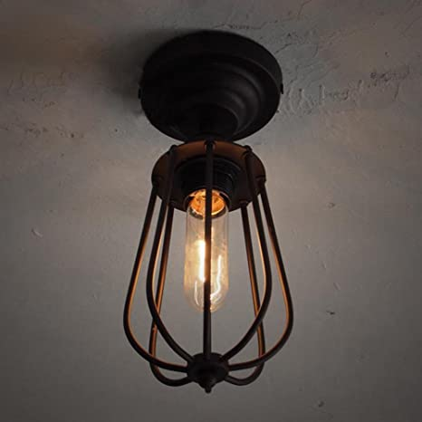 Industrial Bird Cage Style Ceiling Light, SUN RUN Creative Retro Light  Fixture Chandeliers Vintage Metal