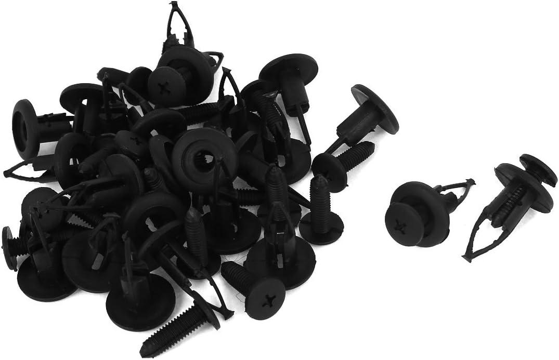 uxcell Black Plastic Rivets Fender Auto Bumper Push Clips 26mm Length 24 Pcs
