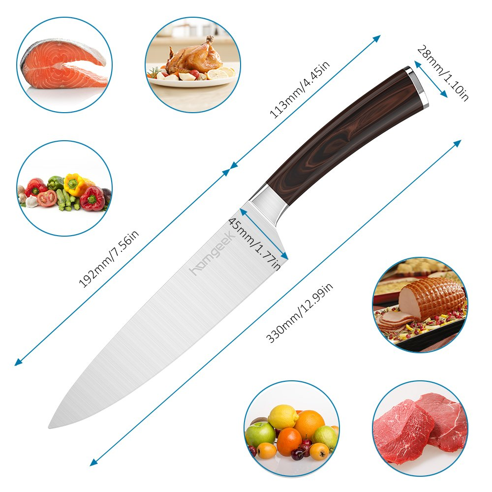 Homgeek Chef Knife,8 inch German High Carbon Stainless Steel Sharp Blade Kitchen Knife with Ergonomic Handle by Homgeek (Image #3)
