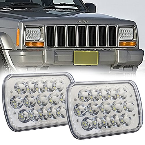 Toyota Pickup Off Road (7x6 LED Headlights Sealed Beam 5x7 Square H6054 Headlamps for Jeep Cherokee XJ Wrangler YJ Toyota Pickup 4x4 Truck Offroad Rectangular Lights Pair 6052 H6052 H5054 H6014 H6054LL 69822 6053)
